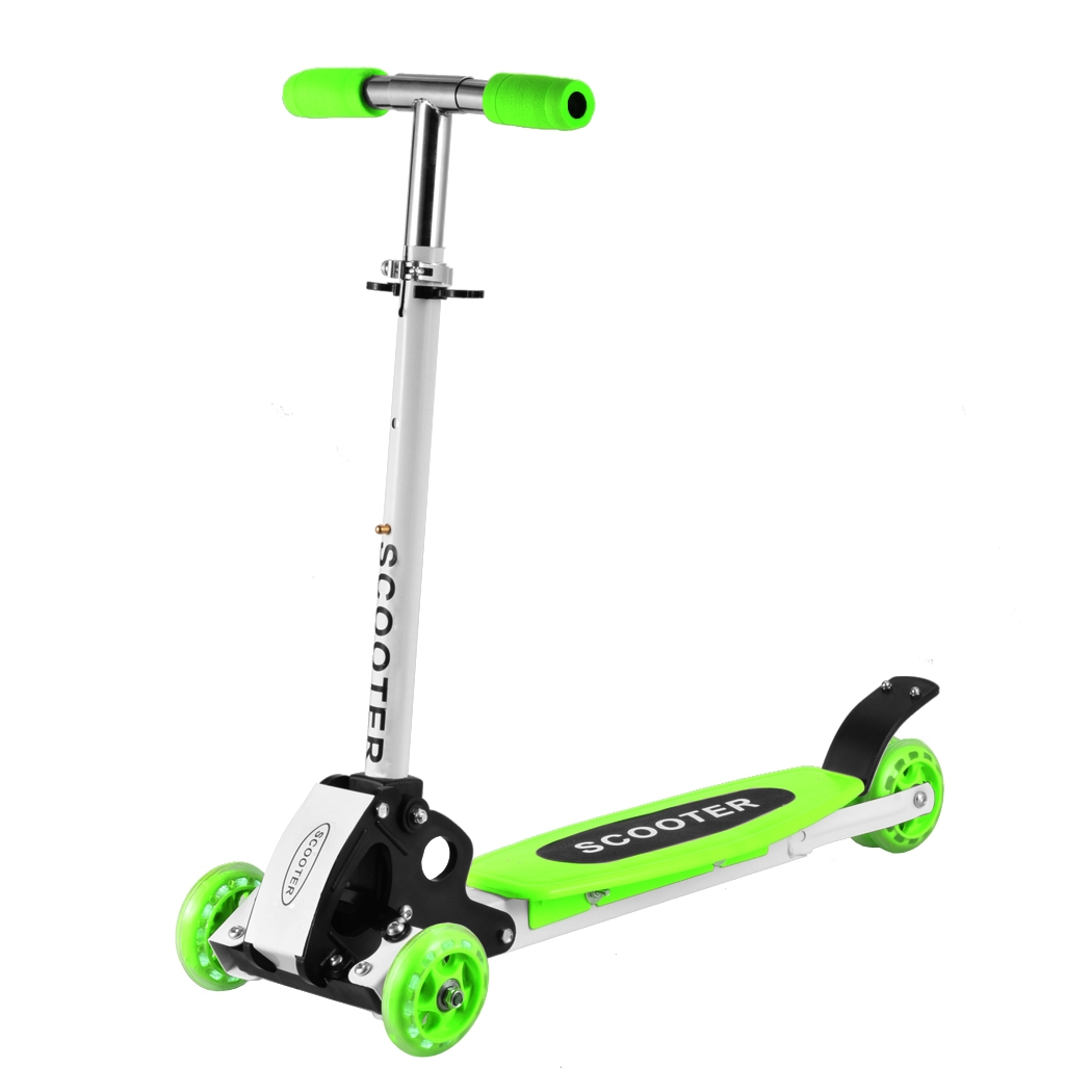 3 Wheels Kids Kick Scooter Micro Mini Foldable Adjustable T-Bar Toddler Push Fun Exercise Toys Scooter for Boys Girls Children Kids Age 2 Up