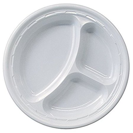 Dart 10CPWF, 10.25-Inch Famous Service White Compartmented Impact Plastic Plate, Take Out Catering Food Disposable Dinner Plates (50) - Food Service Plate