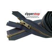 "ZipperStop Wholesale Authorized Distributor YKK® 27"" inch Medium Weight Jacket Zipper YKK #5 Antique Brass ~ Separating ~ 560 Navy (1 Zipper/pack) Crafter's Special"