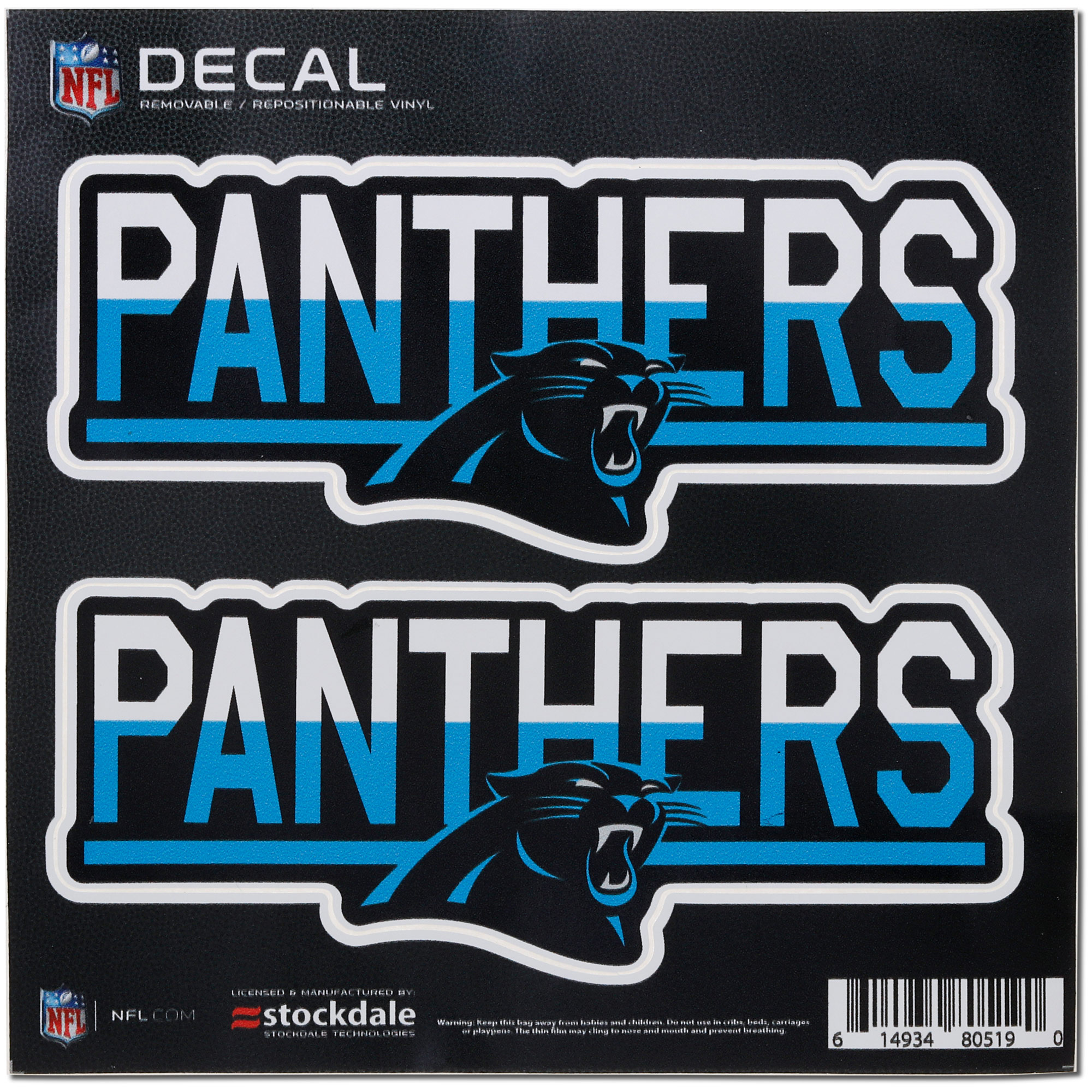 """Carolina Panthers 6"""" x 6"""" Two-Tone Repositionable Decal 2-Pack Set - No Size"""
