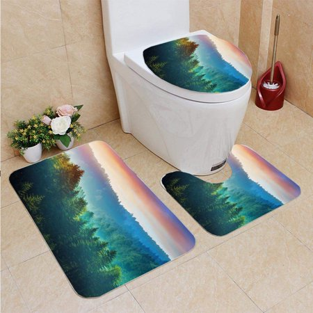 EREHome Mountains at Sunrise Dolomites in South Tyrol Italy 3 Piece Bathroom Rugs Set Bath Rug Contour Mat and Toilet Lid Cover - image 1 de 2