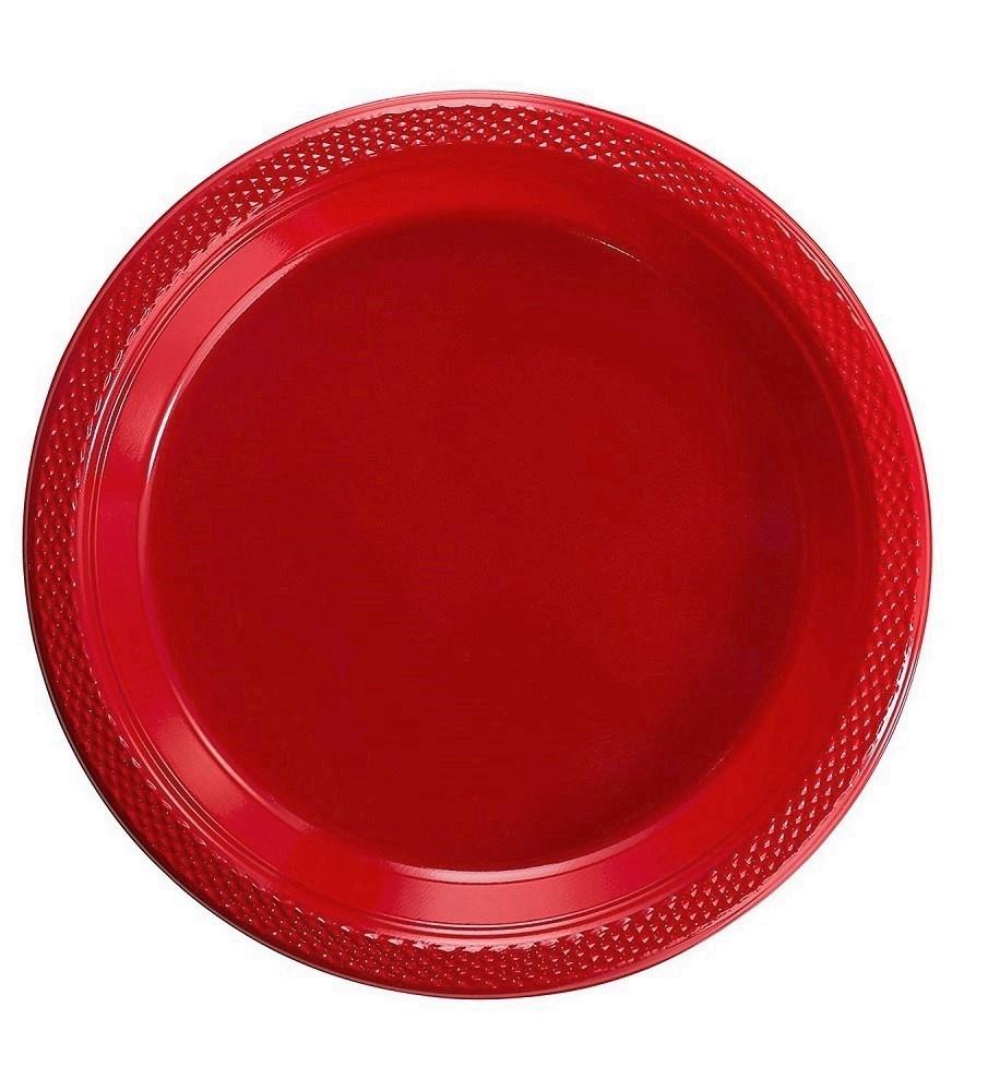 "Exquisite 7"" Disposable Plastic Plates - 50 Count Party Pack Plates - Premium Plastic Disposable Dessert/Salad Plates, Red"