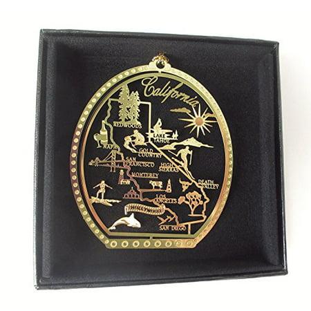 California State Brass Christmas Ornament Black Leatherette Gift Box ()
