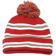 Fashion Hat Boys Brown Red White Stripe Pompom Beanie Hat