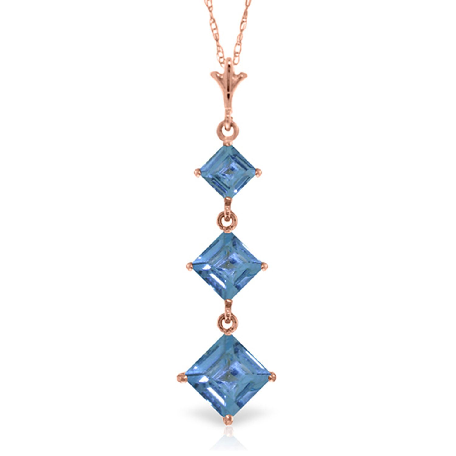 ALARRI 2.4 CTW 14K Solid Rose Gold Waterdrops Blue Topaz Necklace with 24 Inch Chain Length