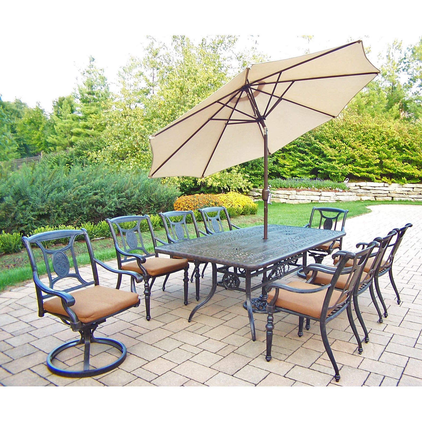 Oakland Living Victoria Aluminum 9 Piece 84 x 42 in. Rectangular Patio Dining Set