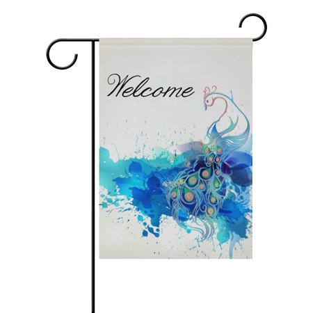 POPCreation Blue Peacock Watercolor Art Polyester Garden Flag Outdoor Flag Home Party Garden Decor 28x40 - Peacock Party