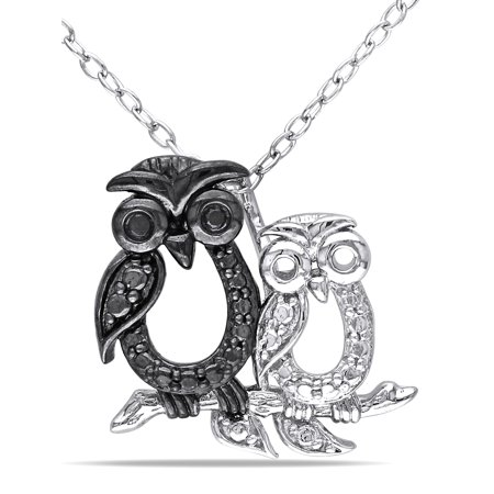 Sterling Silver Owl (Sterling Silver Black Diamond Owl Necklace)