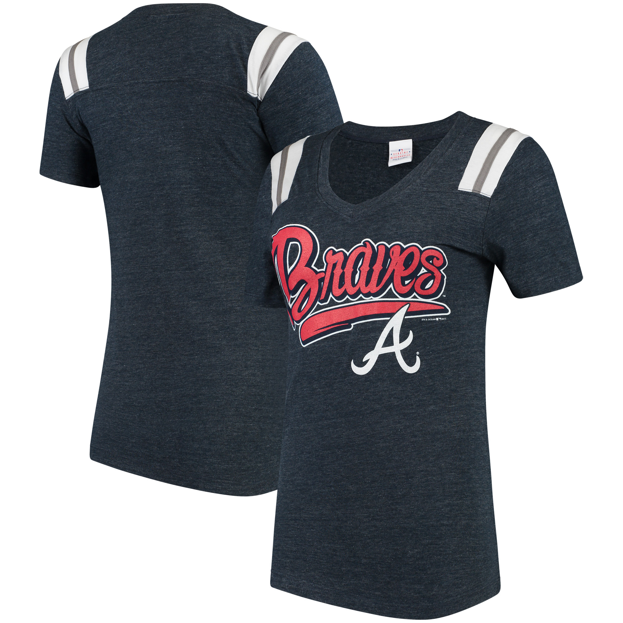 Atlanta Braves 5th & Ocean by New Era Women's Tri-Blend V-Neck T-Shirt with Shoulder Inserts - Navy/White