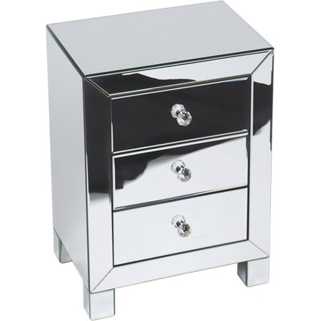 Avenue Six Mirrored Reflections 3 Drawer Accent Table  Silver