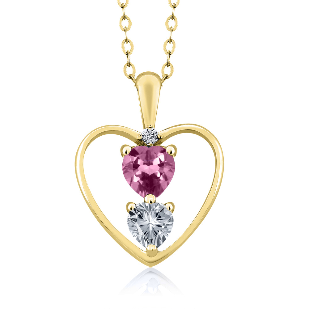 0.69 Ct Pink Tourmaline With Diamond Accent 18K Yellow Gold Heart Pendant by