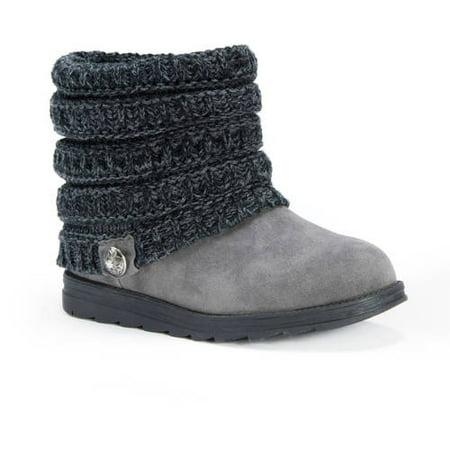 MUK LUKS - Women s Muk Luks Ankle Boots with Sweater Knit Cuff - Charcoal  Gray - Size 10 - Walmart.com 708d868d45
