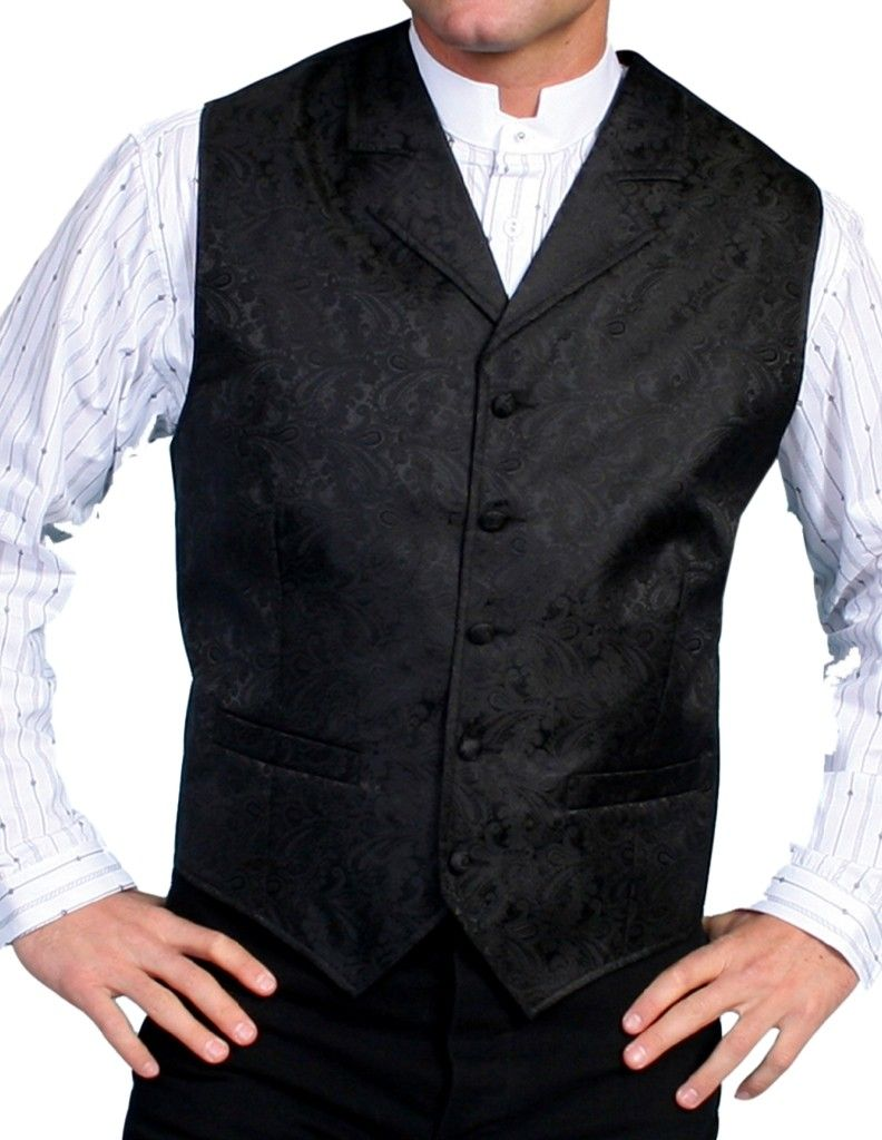 Scully Old West Vest Mens Paisley Cover Button Formal Polyester RW093