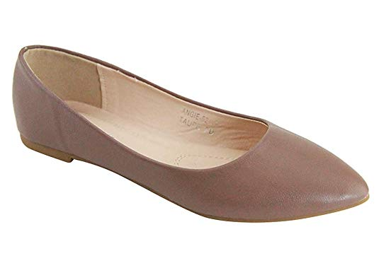 Bella Marie Angie-52 Rose Gold Pointed Toe Ballet Flat