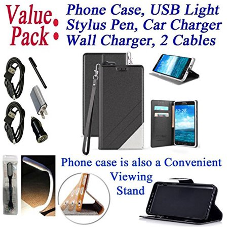 80 Black Value Pack - Value Pack Cables + for Samsung Galaxy J7 2017 SKY PRO / J7 PERX J7 V Case Phone Case Hybrid Fold Wallet Kick Stand Pouch Purse Screen Flip Cover Black