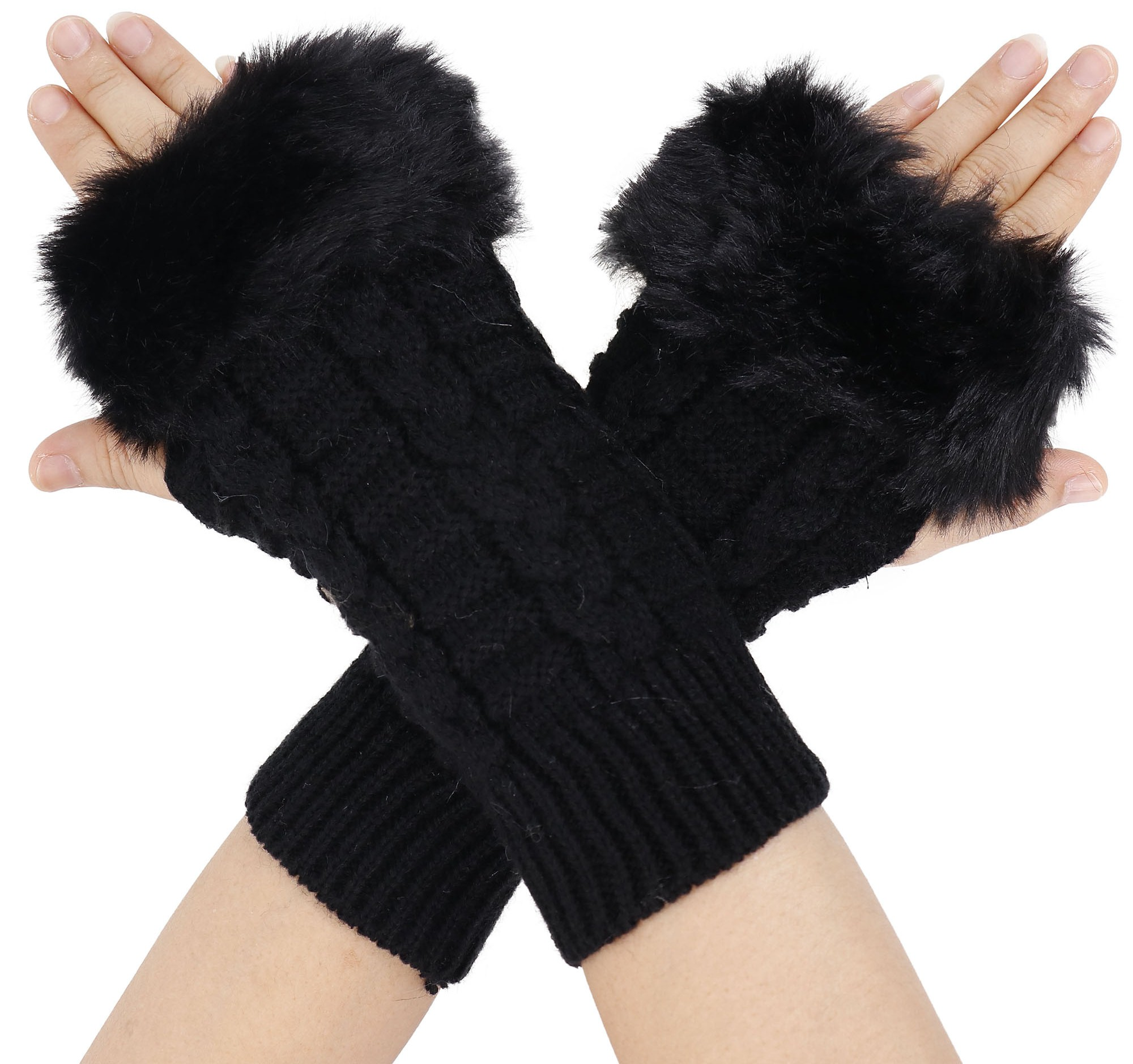 Simplicity Winter Warmer Women Faux Knitted Hand Wrist Fingerless Gloves, Black2