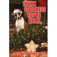 Tree Fainted Dog Funny Christmas Card