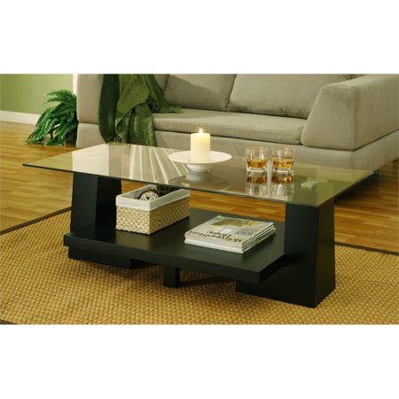 Furniture of America Reed Leveled Coffee Table in Black ()