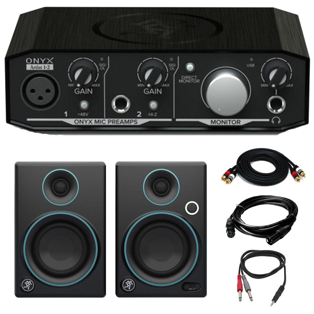 "Mackie Onyx Artist 1-2 2x2 USB Audio Interface with 3"" Multimedia Speaker Bundle"
