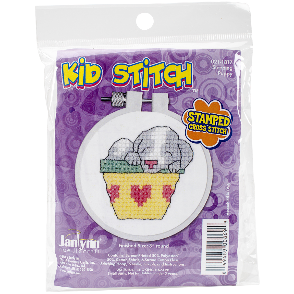 "Kid Stitch Sleeping Puppy Stamped Cross Stitch Kit, 3"" Round"