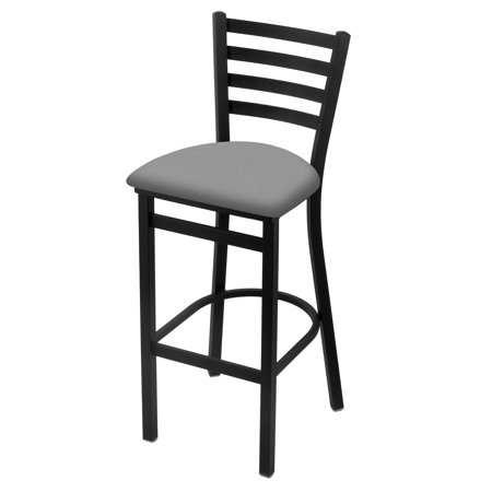 "400 25"" Stationary Counter Stool with Black Wrinkle Finish and Canter Folkstone Grey Seat"