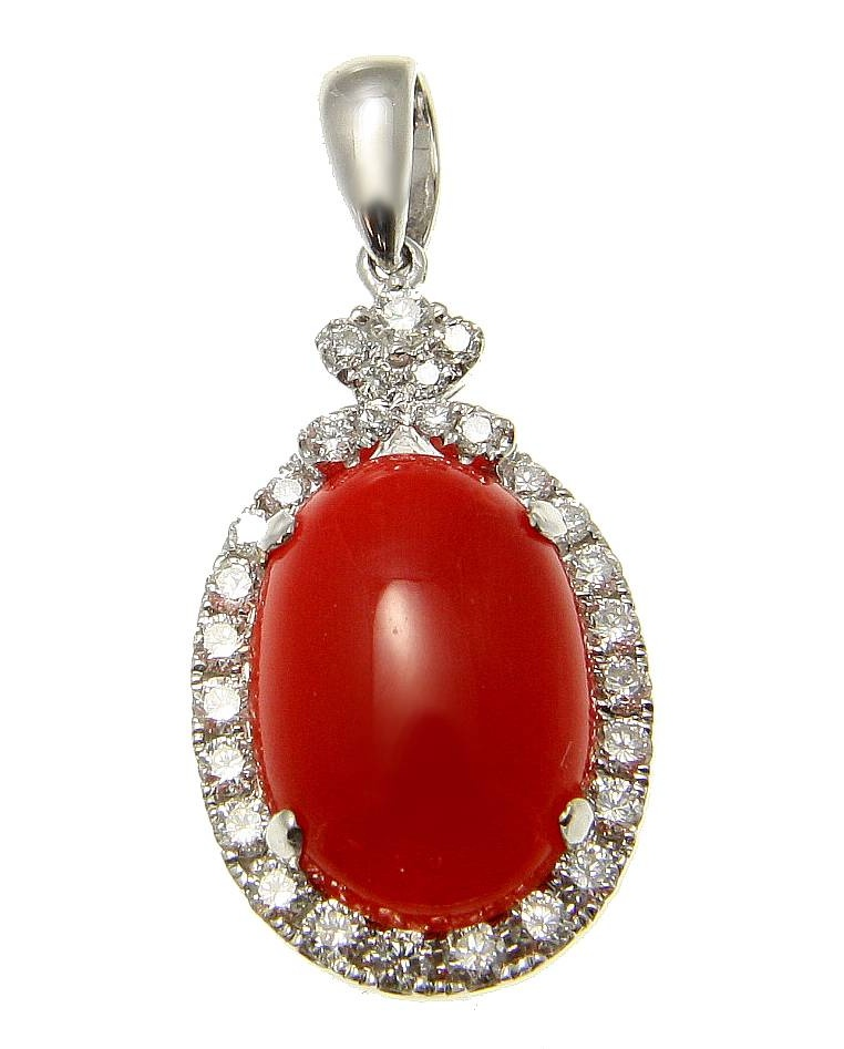 Genuine natural red coral diamond pendant set in solid 14k white gold 13.25mm by