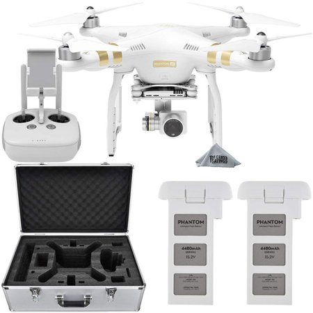 DJI Phantom 3 4K Quadcopter Aircraft with 3-Axis Gimbal and 4k Camera - Bundle With Spare Battery and Aluminum Case