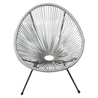 E-joy Acapulco Patio Chair All-Weather Weave Lounge Chair Patio Sun Oval Chair available for Indoor Outdoor,1Piece,Grey