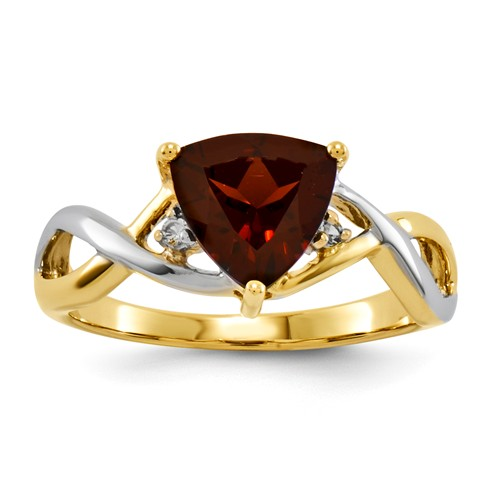14k Yellow Gold Garnet and White Topaz Trillion Gemstone Ring. Gem Wt- 1.32ct by Jewelrypot