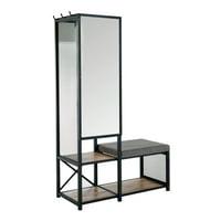 Furniture of America Verna Metal Multi-Storage Mirror and Bench