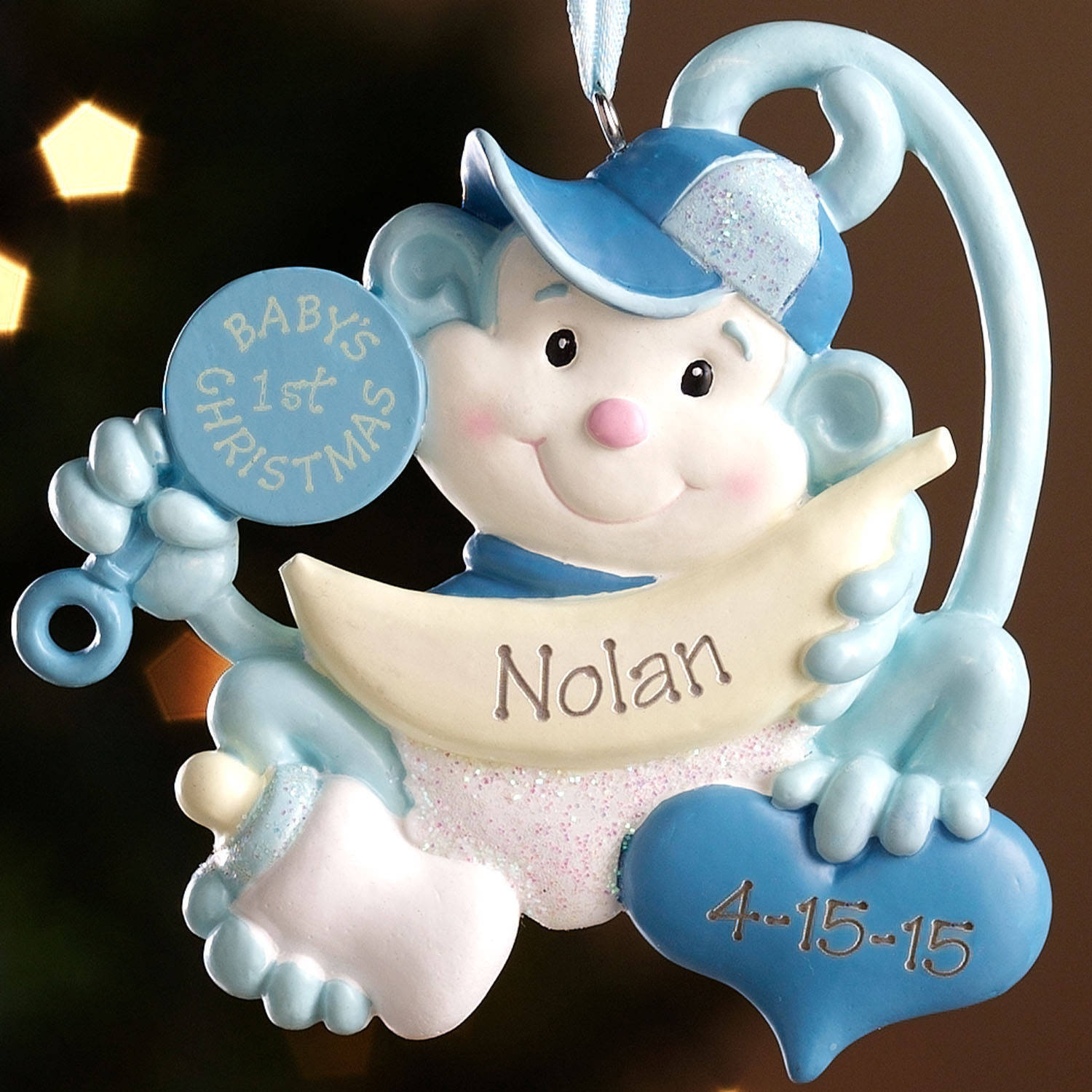 personalized babys first christmas monkey ornament walmartcom - Baby Boy First Christmas Ornament