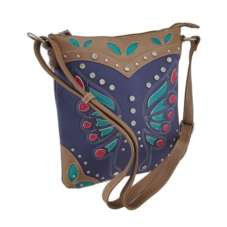 Studded Butterfly Textured Vinyl Western Style Cross Body