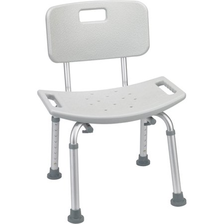 Drive Medical Bathroom Safety Shower Tub Bench Chair With Back  Gray