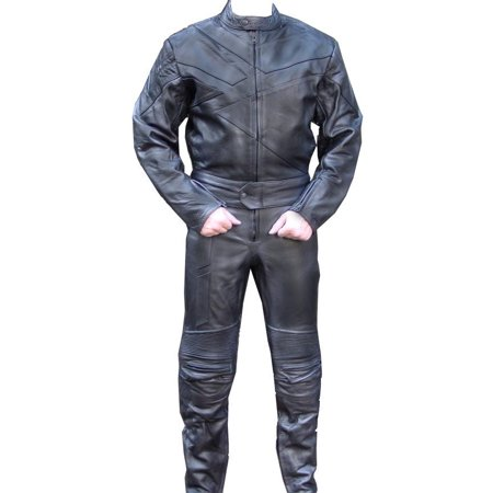 Perrini 2 PC Genuine Leather Motorbike Motorcycle Drag Racing Suit Black with Metal Waist