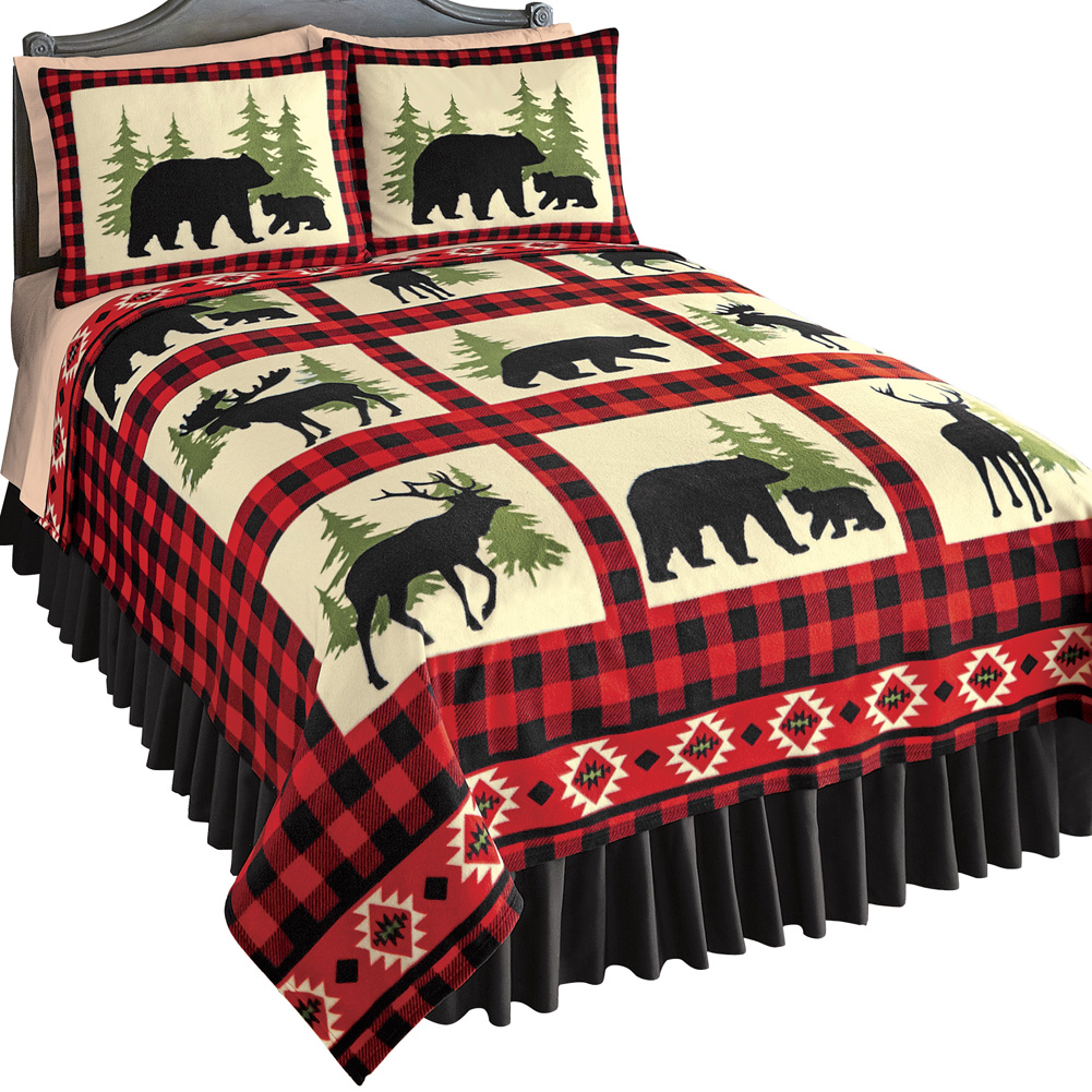 Woodland Fleece Coverlet, Bear, Deer and Moose Silhouettes with Red / Black Checkered Pattern, Rustic Cabin Bedding, Full/Queen, Red/Black