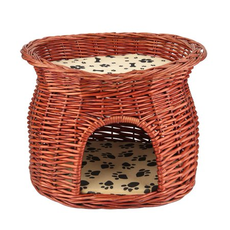 Steeping Basket (HERCHR 2 Layers Wicker Cat Bed Basket  Pet Dog Sleeping House with Soft Cushion, Cat  House, Cat Basket, Dog Sleeping House )