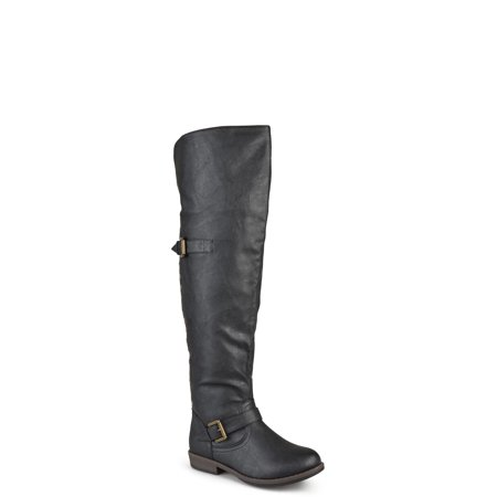 Women's Wide Calf Over-the-knee Buckle Studded Boots (Wide Calf Santa Boots)