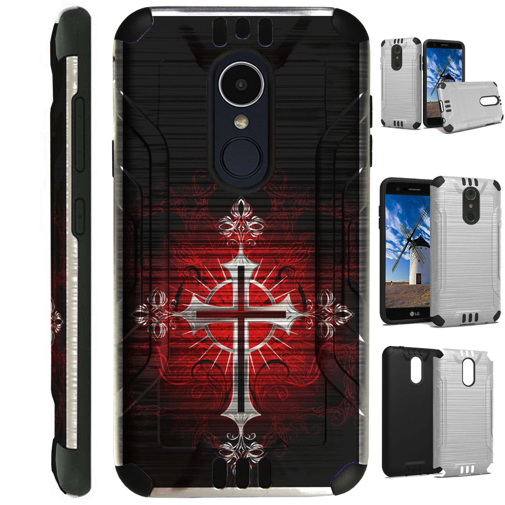 For LG Rebel 3 | LG Rebel 4 Case Brushed Metal Texture Hybrid TPU Silver Guard Phone Cover (Red Gothic Cross)