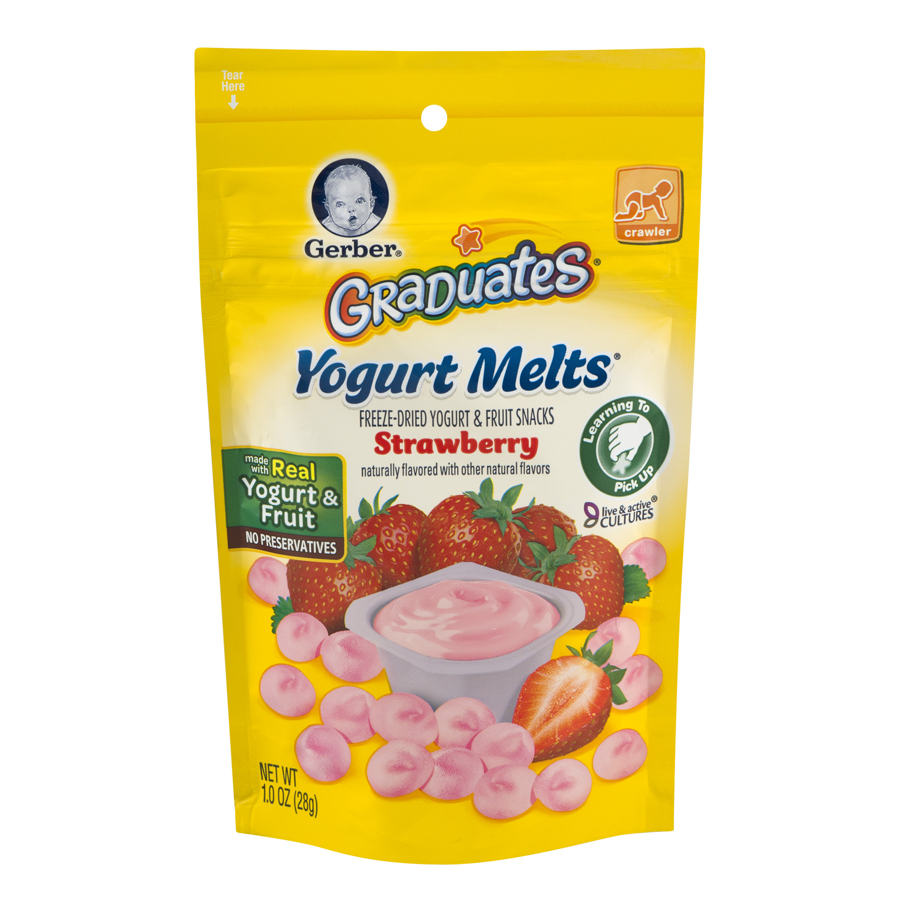 Gerber Graduates Yogurt Melts Freeze-Dried Yogurt & Fruit Snacks Strawberry, 1.0 OZ