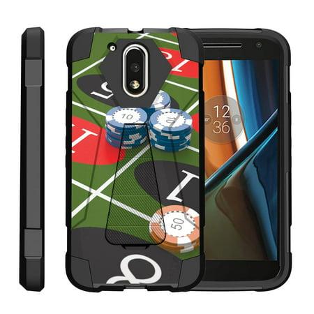 TurtleArmor ®   For Motorola Moto G4   Moto G 4th Generation (2016)   Moto G4 Plus XT1644 [Dynamic Shell] Dual Layer Hybrid Silicone Hard Shell Kickstand Case - Roulette (Moto G4 Plus Android 7-1 2 Update)