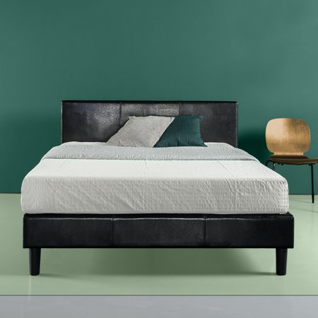 - Zinus Jade Faux Leather Upholstered Platform Bed with Wooden Slats, Multiple Sizes