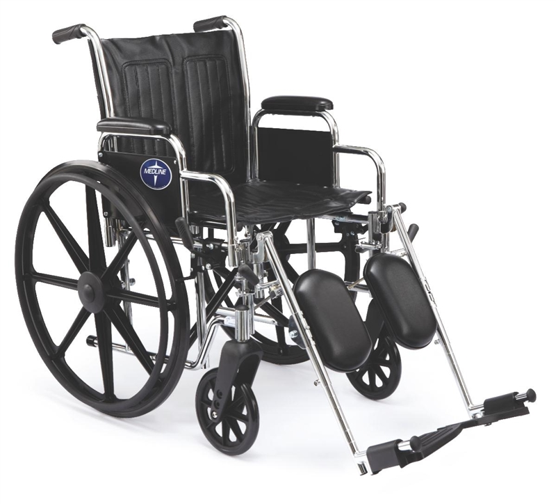 "Medline 2000 Extra Wide Wheelchair - 20"" x 16"", Swing-Away Footrests - 1 Each / Each"