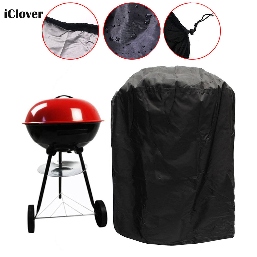 "Kettle Grill Cover, IClover [23""x30""] Black Waterproof Dustproof Round Grill Cover, Patio Garden Gas Barbecue Smoker Fire Pit Cover with Elastic Strap Weather  BBQ Cover for Weber Char Broil"