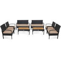 Deals on Gymax 8PCS Patio Rattan Conversation Set