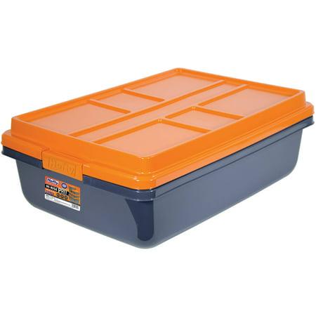 Hefty HI-RISE PRO Heavy Duty Storage Bins, 40 Qt. Latch Storage Box, Orange/Gray - Tall Storage Bins
