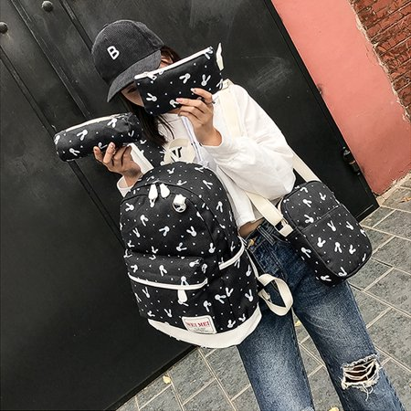 Rabbit Bag - Lowestbest 4Pcs Backpacks for Teenage Girls for School Clearance! Black Rabbit Print Canvas Backpacks for Girls, Large Capacity Traveling Satchel Rucksack Backpacks for Women