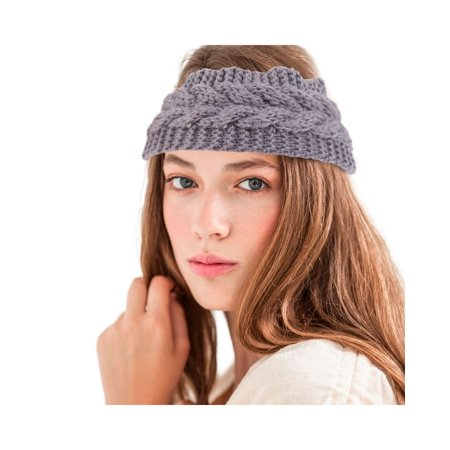 Zodaca Women Headband Crochet Knit Knitted Girl Lady Fashion Head Warmer Winter Warmth Headband Headwrap Hairband EarBand Stylish Headwear - Light Gray
