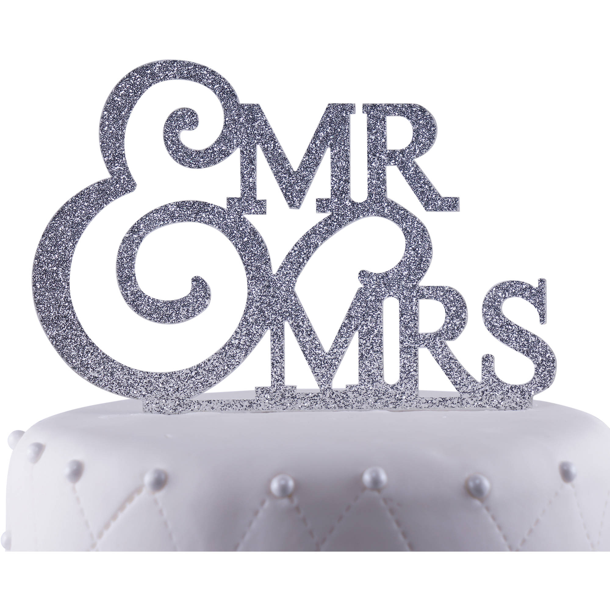 """Unik Occasions """"Mr. and Mrs."""" Wedding Acrylic Cake Topper, Silver Glitter"""