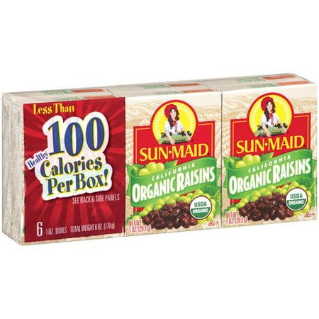 - (4 Pack) Sun-Maid Organic Raisins, 1 oz, 6 ct