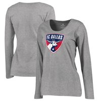 FC Dallas Fanatics Branded Women's Plus Size Primary Logo Long Sleeve T-Shirt - Heathered Gray